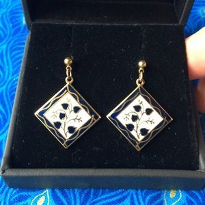 "Jewelry - Navy and gold enameled ""ivy"" dangly earrings"
